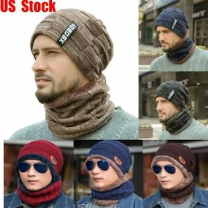 Thermal Hat Cap Casual Women Winter Warm Knitted Hat Scarf Sets Ski Cap