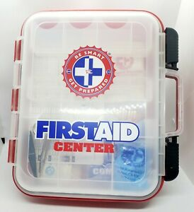 Partial First Aid Kit Hard Red Case Hangs Exceeds OSHA and ANSI Guidelines #1