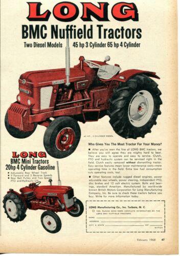 1968 Print Ad of Long BMC Nuffield 3//45 Farm Tractor