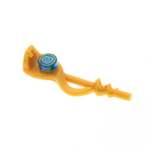 1 x Lego System Schlangen Stab perl gold Hypnobrai rund Fliese transparent blau