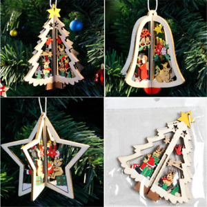3D Xmas Tree Pendants Hanging Wooden Christmas Decoration Home Party Decor