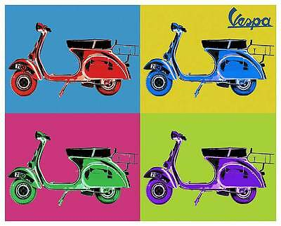 Vespa Vintage Pop Art Quality Canvas Print Retro Scooter Poster A 32x24 A1 Ebay