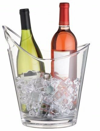 BAR CRAFT Vino Curvo CLEAR ACRYLIC DRINKS PAIL / WINE COOLER - (ON SPECIAL)
