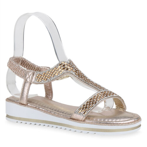 Damen Sandaletten Keilsandaletten Strass Keilabsatz Sandalen 830942 Trendy Neu