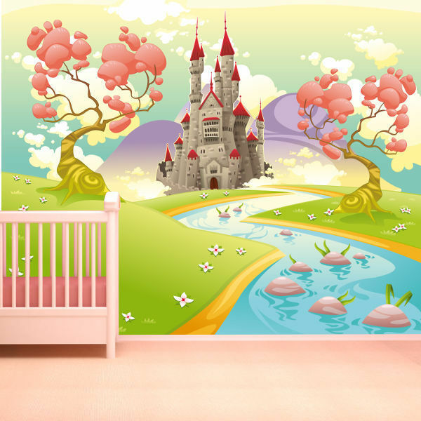WALLPAPER FAIRYTALE CASTLE CARTOON GIRLS WALL PAPER 300cm wide 240cm tall WMO087