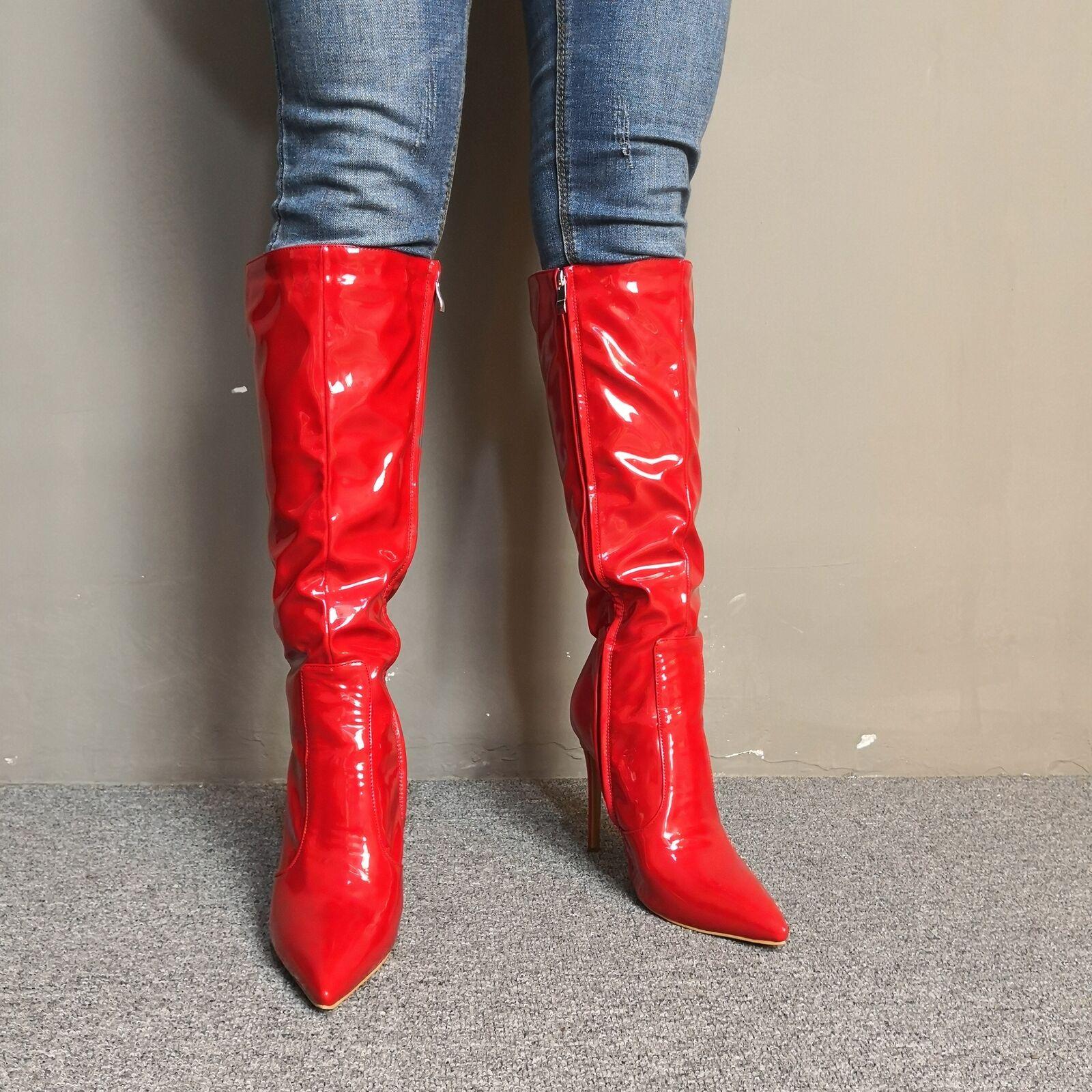 Wadenhohe Rot Spitz Zehe Stiefel Damen High Stiletto Heels Elegant Reißverschluß