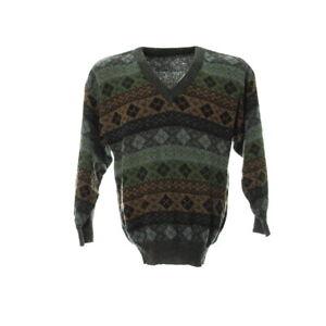 Pullover-Herren-Gr-S-Strick-Sweater-Langarm-V-Ausschnitt-Vintage-Muster