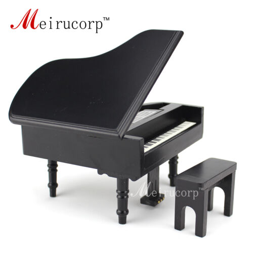 dollhouse 1//12 Scale Miniatures Musical Instrument Wooden black piano and stool