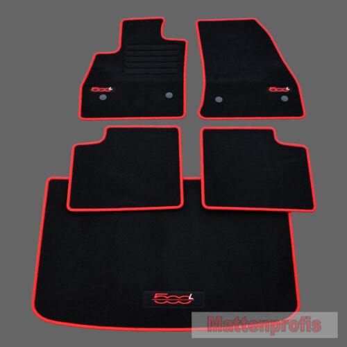 Kofferraummatte für Fiat 500L ab Bj 09//2012 rot MP Velours Logo Fußmatten