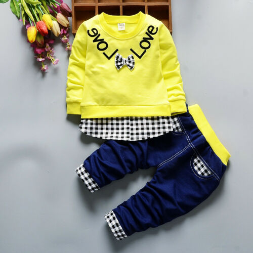 2PC Toddler Baby Girl Clothing Outfits Long Sleeve T Shirt+Pants Clothes Set