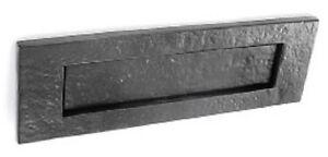 LETTER BOX PLATE Front Door Post Sprung Black Antique Cast Iron ...