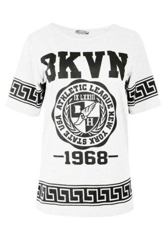 Femme mesdames bkvn 1968 grec imprimé basket manches courtes t shirt grande taille