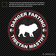 Danger Farting Tibetan Mastiff Decal Self Adhesive Vinyl dog canine pet