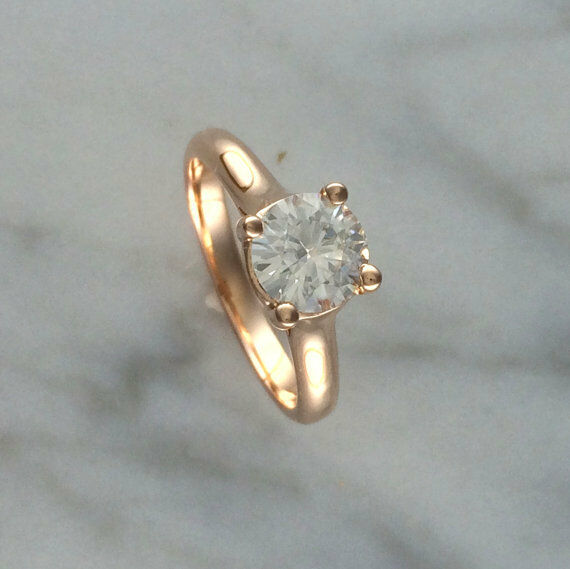 1.00 Ct Round Moissanite Engagement Wedding Ring 14K Solid pink gold Size 6