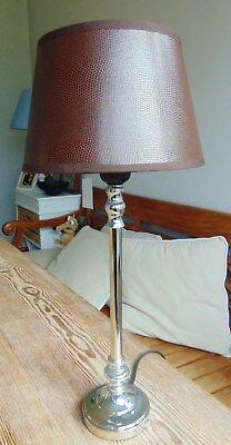 TISCHLAMPE 45cm LAMPENSCHIRM RUND braun LEDEROPTIK + Metallfuss E27 40 Watt A++