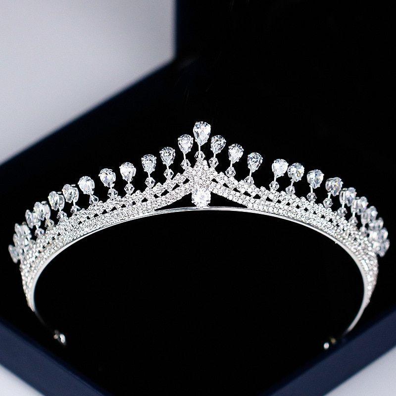 Crystal Tiara Crown Rhinestone Bridal Hair Pageants Wedding Bride Headband Pearl