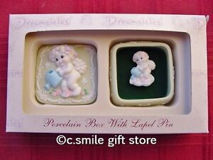 CAST-ART-DREAMSICLES-Keepsake-Box-with-Lapel-Pin-Porcelain-Retired-MIB-RARE
