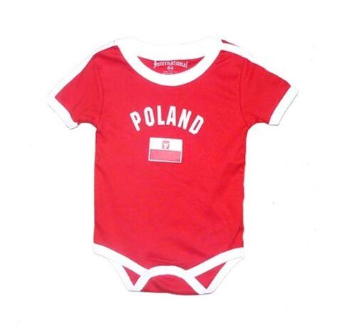 Poland Baby Bodysuit 100/% Cotton Soccer Futbol Jersey Flag T-Shirt All Seasons