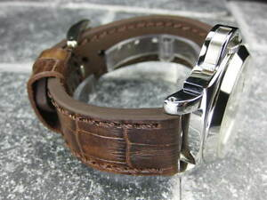 New-BIG-CROCO-24mm-PANERAI-Antique-Brown-LEATHER-STRAP-Gold-watch-Band-24