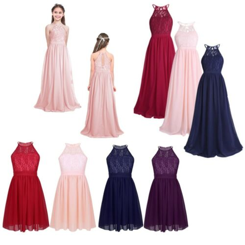 Flower Girl Dress Wedding Party Bridesmaid Princess Lace Chiffon Formal Dresses