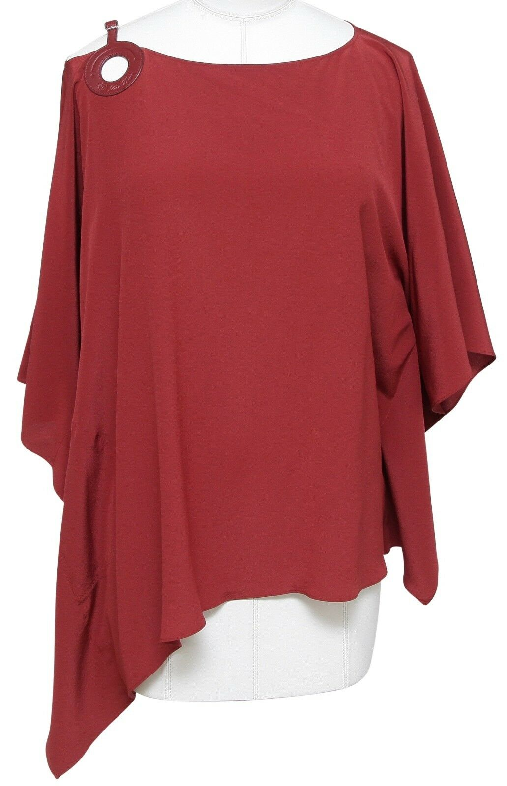 LGold PIANA Silk Blouse Top Shirt Draped Sleeve Rust rot braun Leather Sz M