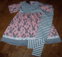 Jelly The Pug Pink/gray Bunny Babydoll Dress/leggings Set 4 Bare Shoulders