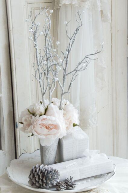 Kunstblume Seidenblume Zweig Winter Adventsdeko Blume Stiel Shabby Landhaus
