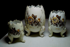 lot-of-3-vtg-old-Cracked-Egg-Vases-brown-white-tripod-three-footed-bowls-flowers