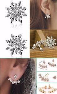 Image Is Loading Snowflake Silver Crystal Rhinestone Ear Stud Earrings Wedding