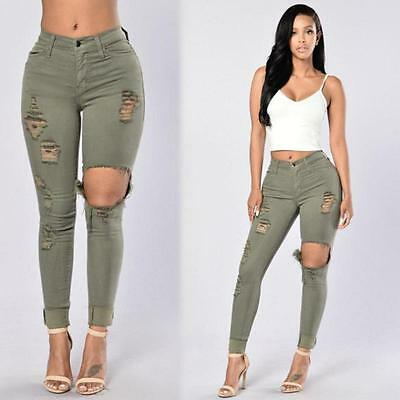 Women Red Army Green Silm Hollow Out Casual Style Demin Jeans Pencil Pants