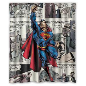 Superman DC Comics Vintage Art Custom Waterproof Fabric Shower Curtain Bathroom