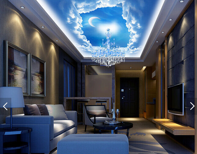 3D Blau Sky Cloud Moon 3 WallPaper Murals Wall Print Decal Deco AJ WALLPAPER GB