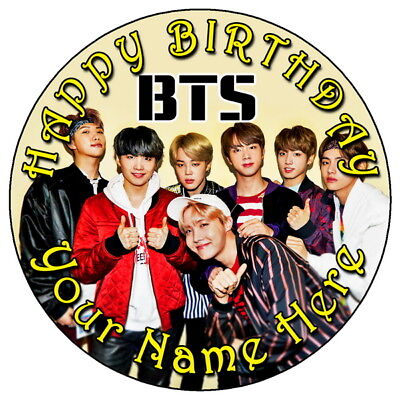"BTS MUSIC FUN PARTY 7.5"" PERSONALISED ROUND EDIBLE ICING ..."