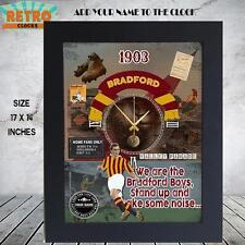 Personalised  Retro BRADFORD CITY    football  supporters  Metal WALL CLOCK