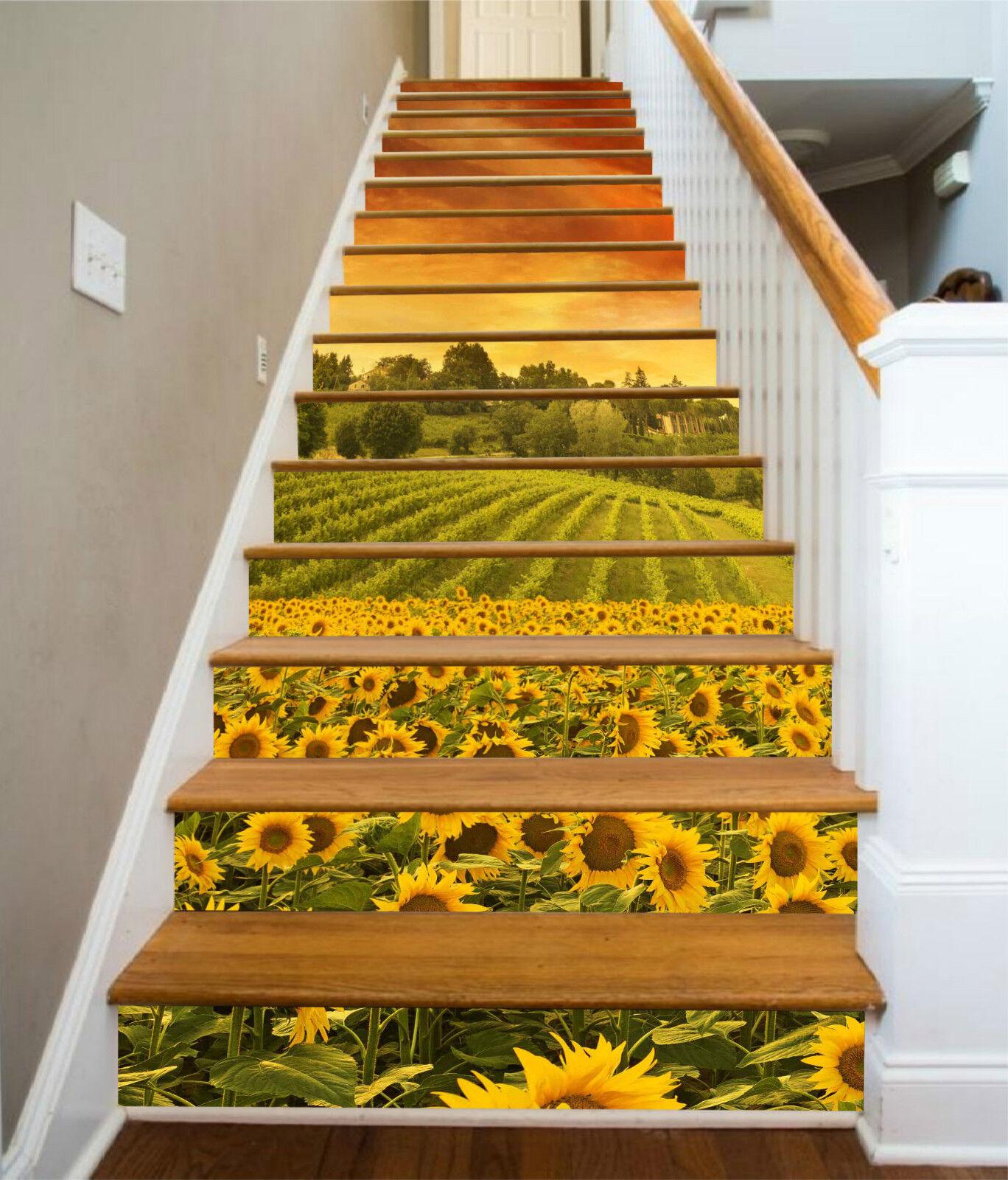 3D SonnenBlaume 096 Stair Risers Dekoration Fototapete Vinyl Aufkleber Tapete DE