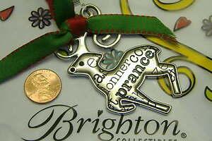 Brighton reindeer red nose rudolph b jolly christmas winter ornament NWT rare