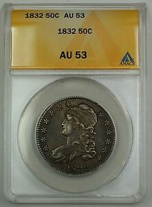 1832 Capped Bust Silver Half Dollar Coin 50c Anacs Au 53