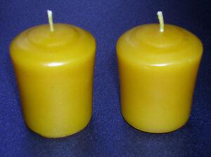 2-x-Handmade-100-Pure-Beeswax-Votive-Church-Pillar-Table-Dinner-Candles-5cmx3cm