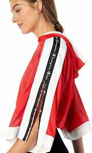 Champion Womens Crop Hooded Mesh Top Zipper Tape Sleeves Multi Logo NEW