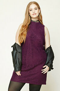 Forever 21 Plus Size Eggplant Floral Shift Crochet Dress XL/1X/2X | eBay