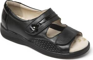 Padders-GRACEFUL-Ladies-Womens-Leather-Extra-Wide-Fitting-3E-4E-Sandals-Black