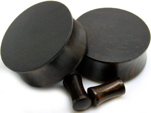 PAIR-CONVEX BLACK ARENG WOOD PLUGS -ORGANIC FLESH TUNNELS-EAR GAUGES-EAR PLUGS