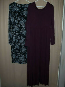 Maternity-XL-Total-4pcs-Dresses-Tights-Maroon-Office-Blue-Floral-Cowl-Neck