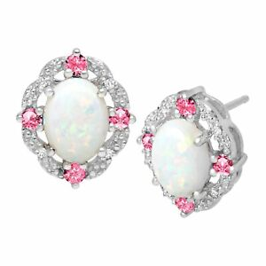 1-1-2-ct-Created-Opal-amp-Pink-Sapphire-Earrings-with-Diamonds-in-Sterling-Silver