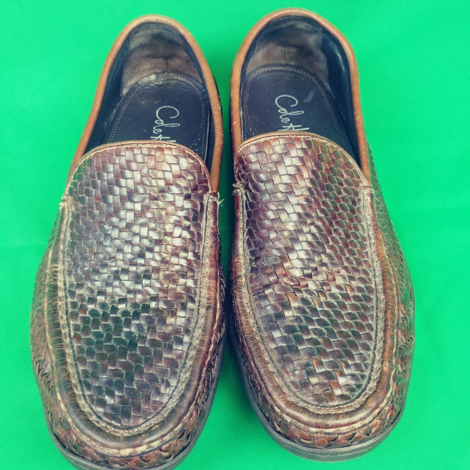 Cole Haan Mens shoes Loafers Braided Woven Leather 9.5 M Slip On Casual