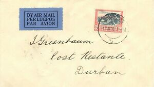 SOUTH-AFRICA-1933-first-day-for-reduced-3d-airmail-postage-JOHANNESBURG-DURBAN