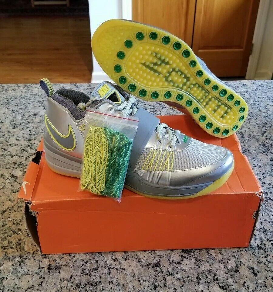 Nike Zoom Revis Oregon Ducks Silver Grey Green Yellow Size 12 Sample PE NEW