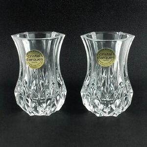 Vintage-Cristal-d-039-Arques-Pair-of-Lead-Crystal-Posy-Vases