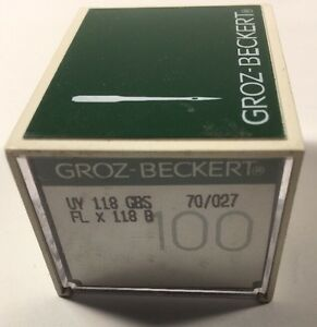 BOX OF 100 GROZ-BECKERT INDUSTRIAL SEWING NEEDLES 118GBS SIZE 70/027