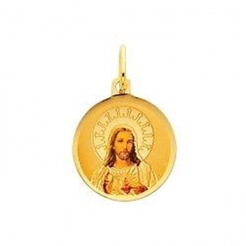 14K Solid Yellow gold Jesus Heart Sagrado Corazon Round Picture Charm Pendant